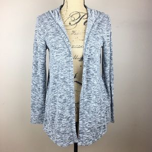 Willi Smith Open Front Hooded Knit Cardigan